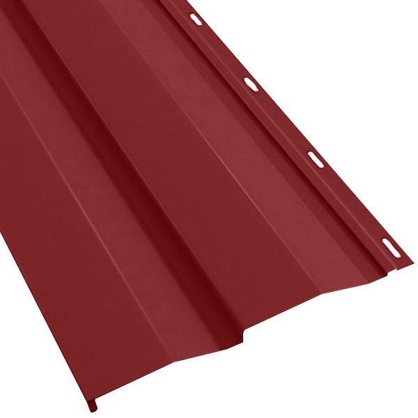 Металлосайдинг «Корабельная доска» в пленке (260/226) 0,5 полиэстер RAL 3003 (рубиново-красный)