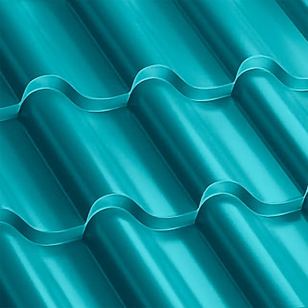 Металлочерепица Монтерроса 35-400 (1170/1110) полиэстер 0,5 RAL 5021 (водная синь)