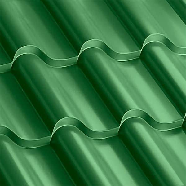 Металлочерепица Монтерроса 35-400 (1170/1110) полиэстер 0,5 RAL 6002 (лиственно-зеленый)