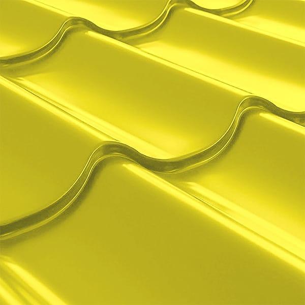 Металлочерепица СуперМонтеррей Плюс (1195/1102) 0,55 полиэстер RAL 1018 (цинково-желтый)