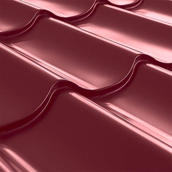 Металлочерепица СуперМонтеррей Плюс (1195/1102) 0,55 полиэстер RAL 3005 (винно-красный)
