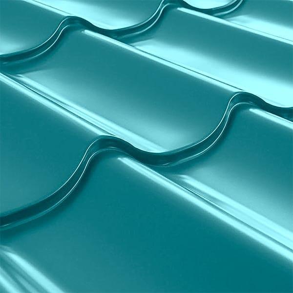 Металлочерепица СуперМонтеррей Плюс (1195/1102) 0,55 полиэстер RAL 5021 (водная синь)