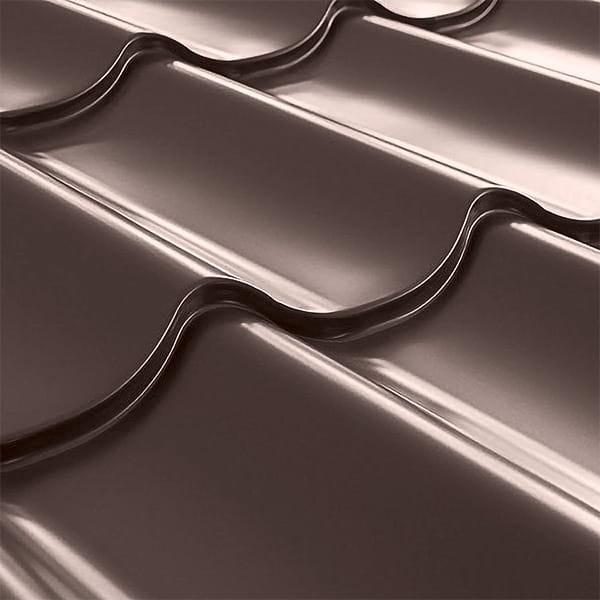 Металлочерепица СуперМонтеррей Плюс (1195/1102) 0,55 полиэстер RAL 8017 (шоколадно-коричневый)