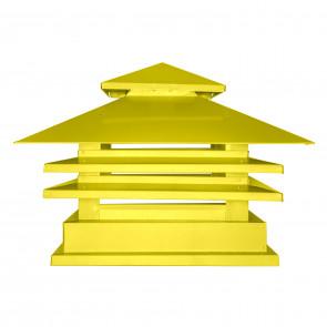 Дымник двухъярусный с дефлектором RAL 1018 (цинково-желтый) (Дымники)