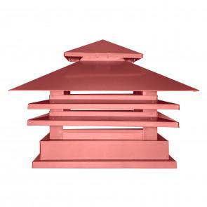 Дымник двухъярусный с дефлектором RAL 3011 (коричнево-красный) (Дымники)
