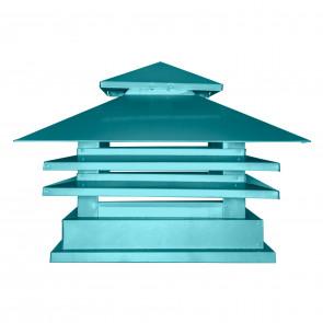 Дымник двухъярусный с дефлектором RAL 5021 (водная синь) (Дымники)