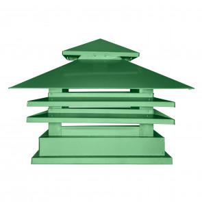 Дымник двухъярусный с дефлектором RAL 6002 (лиственно-зеленый) (Дымники)