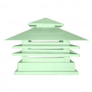 Дымник двухъярусный с дефлектором RAL 6019 (бело-зеленый) (Дымники)