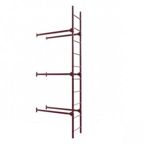 Лестница фасадная BORGE нижняя секция 3000 мм RAL 3005 (винно-красный) в комплекте