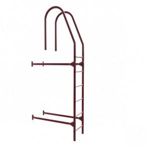 Лестница фасадная BORGE верхняя секция 1800 мм RAL 3005 (винно-красный) в комплекте