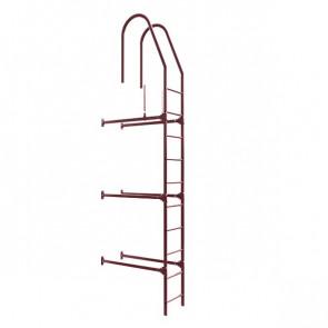 Лестница фасадная BORGE верхняя секция 3000 мм RAL 3005 (винно-красный) в комплекте