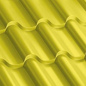Металлочерепица Монтерроса 25-350 (1170/1110) полиэстер 0,5 RAL 1018 (цинково-желтый)