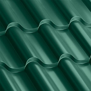 Металлочерепица Монтерроса 25-350 (1170/1110) полиэстер 0,5 RAL 6005 (зеленый мох)