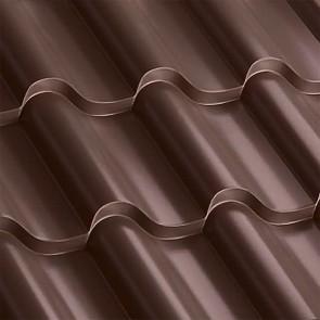 Металлочерепица Монтерроса 35-400 (1170/1110) полиэстер 0,5 RAL 8017 (шоколадно-коричневый)