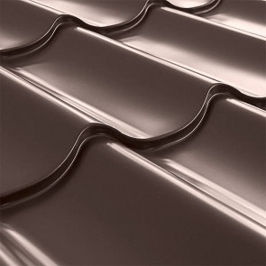 Металлочерепица СуперМонтеррей Плюс (1195/1102) 0,4 полиэстер RAL 8017 (шоколадно-коричневый)