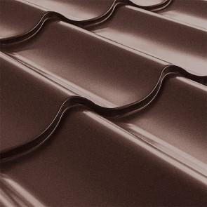 Металлочерепица СуперМонтеррей Плюс (1195/1102) стальной бархат 0,5 RAL 8017 (шоколадно-коричневый)