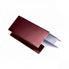 Внешний угол сложный для БЛОК ХАУСА двойного, 2 м, полиэстер, RAL 3005 (винно-красный)