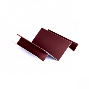 Внутренний угол сложный для БЛОК ХАУСА двойного, 1,25 м, полиэстер, RAL 3005 (винно-красный)