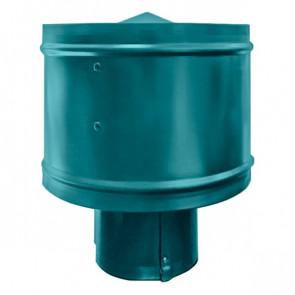 Зонт с ветрозащитой (дефлектором) на круглую трубу RAL 5021 (водная синь) D=100-500