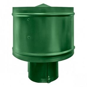 Зонт с ветрозащитой (дефлектором) на круглую трубу RAL 6002 (лиственно-зеленый) D=100-500